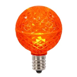 Club Pack of 25 LED G50 Orange Replacement Christmas Light Bulbs - E17 Base