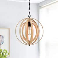Benita Antique Black Handcrafted Wooden Adjustable Orb Pendant Chandelier