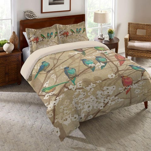 Laural Home Birds in Bloom Comforter - brown/white/red/blue