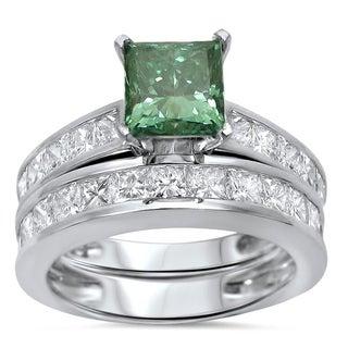 Noori 14k Gold 2 4/5ct TDW Princess-cut Green Diamond Engagement Ring Wedding Set
