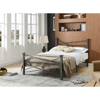 Hodedah Modern Full Size Metal Bed in Charcoal