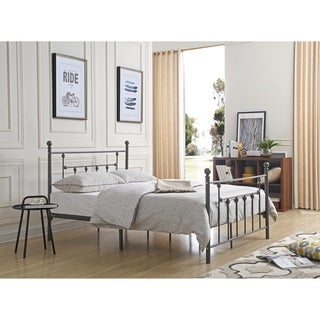 Hodedah Complete Metal Bed with Headboard, Footboard, Slats and Rails