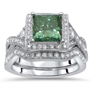 Noori 18k Gold 1 3/5ct TDW Princess-cut Green Diamond Engagement Ring Wedding Set
