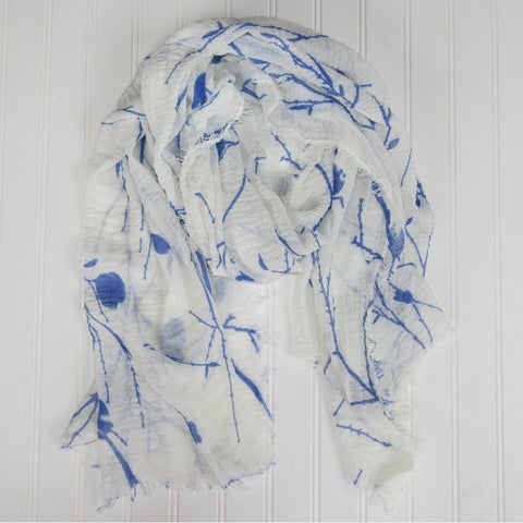 "Tickled Pink Branches & Leaves Lightweight Scarf - 38 x 70"", Blue"