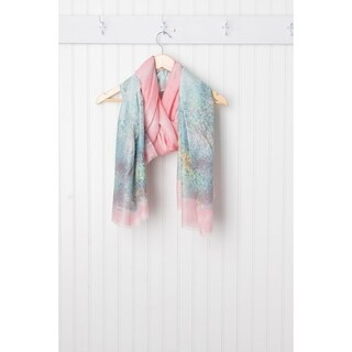 Tickled Pink Monet Lightweight Sheer Scarf - 38 x 70, Teal / Pink