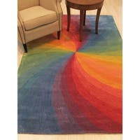 "Hand-tufted Wool Lollipop Contemporary Abstract Swirl Rug - 9'6"" x 13'6"""