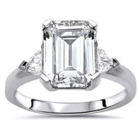 Noori 14k White Gold 2 ct Emerald Moissanite Trillion Diamond 3 Stone Engagement Ring