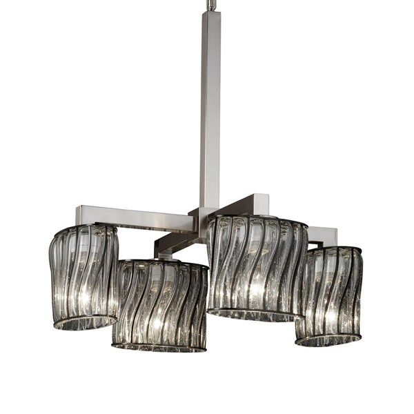 Justice Design Group Wire Glass Modular 4-light Brushed Nickel Chandelier, Swirl with Clear Bubbles Oval Shade - Silver
