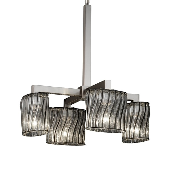 Justice Design Group Wire Glass Modular 4-light Brushed Nickel Chandelier, Swirl with Clear Bubbles Oval Shade