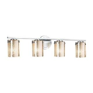 Justice Design Group Fusion Atlas 4-light Polished Chrome Bath Bar, Mercury Cylinder - Flat Rim Shade