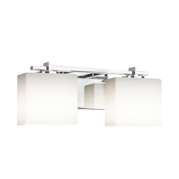 Justice Design Group Fusion Era 2 Light Polished Chrome Bath Bar Opal Rectangle Shade