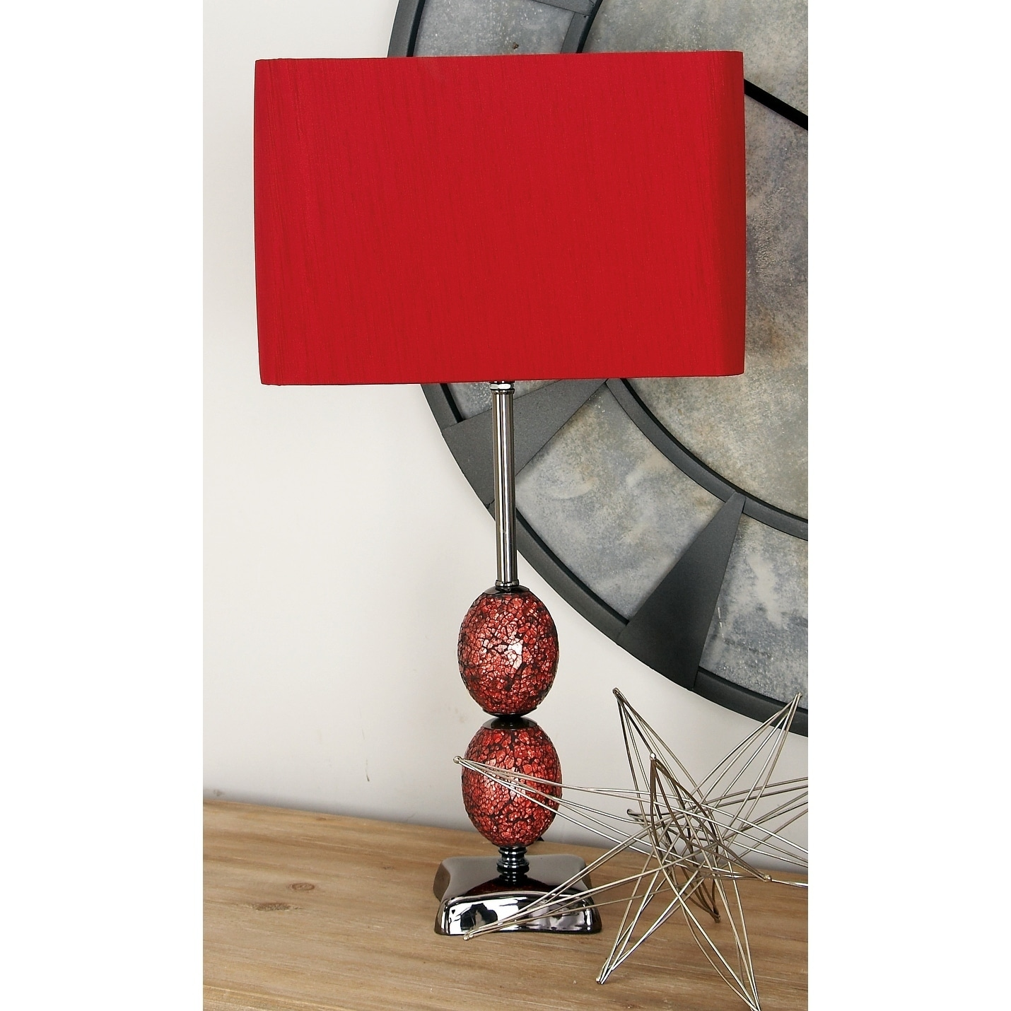Studio 350 Metal Mosaic Table Lamp 24 inches high, Red (I...