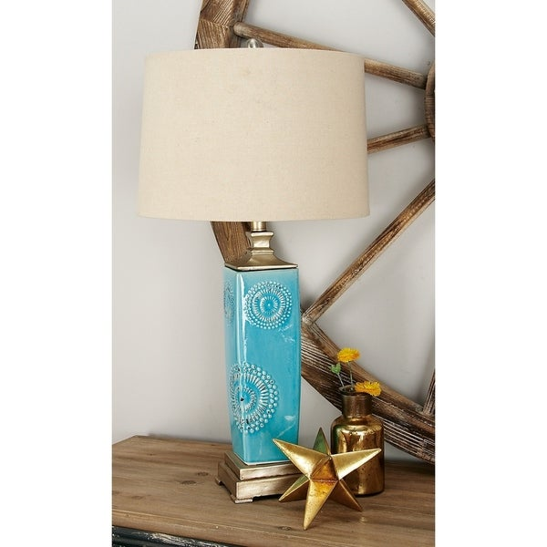 Set of 2 Modern 30 Inch Turquoise Floral Table Lamps by Studio 350