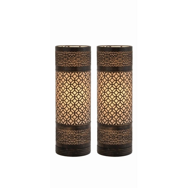 Studio 350 Set of 2, Metal Cylinder Table Lamp 20 inches high