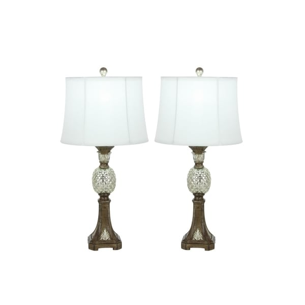 Studio 350 Set of 2, PS Glass Pineapple Lamp 29 inches high