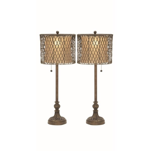 Studio 350 Set of 2, PS Metal Rattan Table Lamp 33 inches high