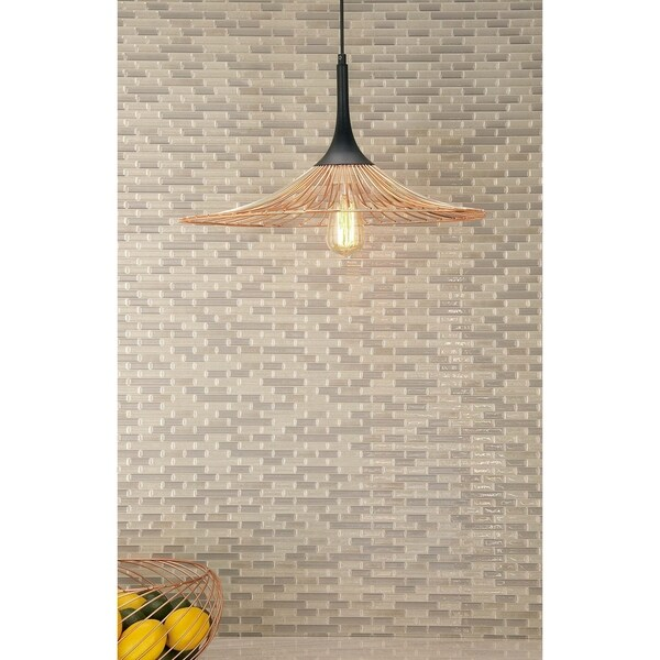 Contemporary 11 x 22 Inch Cone-Shaped Pendant with Bulb by Studio 350