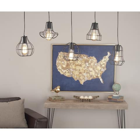"""Large Industrial Style Staggered Pendant Lighting with 5 Black Iron Geometric Caged Edison Bulbs 42"""" x 52"""""""