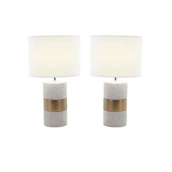 Studio 350 Set of 2, Ceramic Concrete Table Lamp 24 inches high