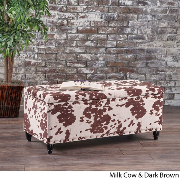 Surprising Shop Tatiana Velvet Cow Print Storage Ottoman Bench By Caraccident5 Cool Chair Designs And Ideas Caraccident5Info