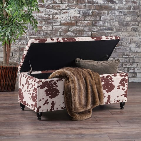 Tatiana Velvet Cow Print Storage Ottoman Bench by Christopher Knight Home