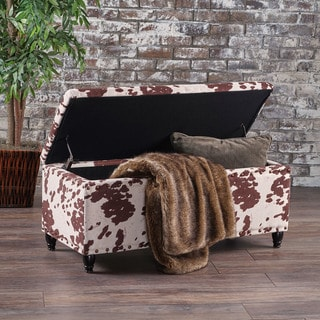Tatiana Velvet Cow Print Storage Ottoman Bench by Christopher Knight Home