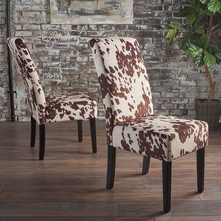 Pertica Contemporary Milk Cow Velvet Dining Chair (Set of 2) by Christopher Knight Home