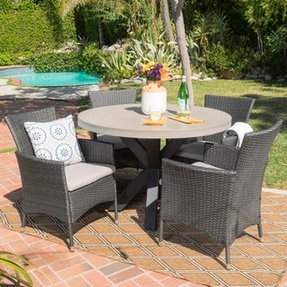 Sanibel Outdoor 5-piece Round Light-weight Concrete Dining Set with Cushions by Christopher Knight Home