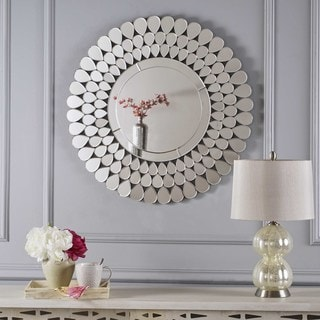 Irmgard Round Flower Wall Mirror by Christopher Knight Home