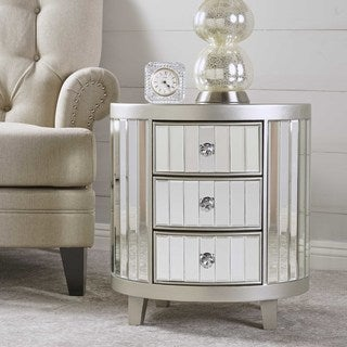 Francine Mirrored Cabinet End Table by Christopher Knight Home