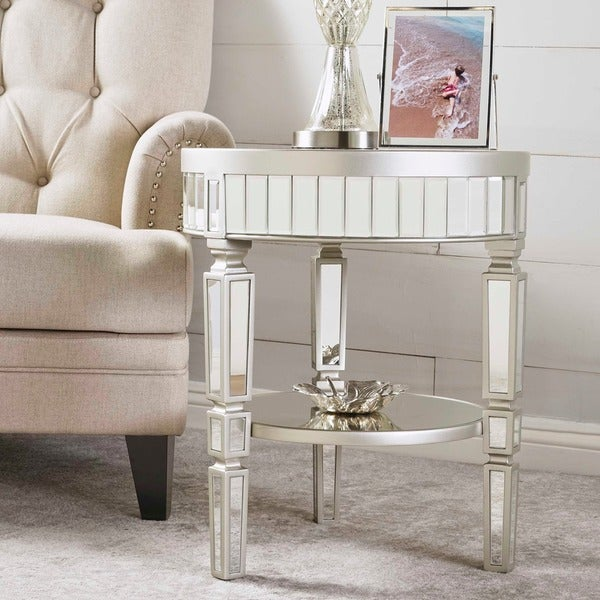 Willa Round Mirrored Cabinet End Table By Christopher Knight Home