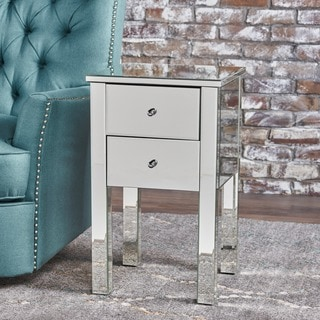Amara Square Mirrored Cabinet 2-Drawer End Table by Christopher Knight Home