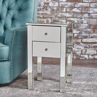 Amara Square Mirrored Cabinet 2-Drawer End Table by Christopher Knight Home - Silver