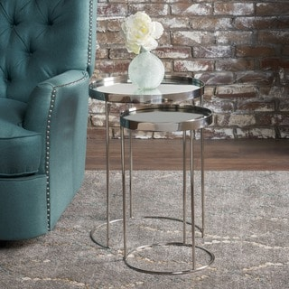 Maridel Round Mirrored Nested Table (Set of 2) by Christopher Knight Home - Silver