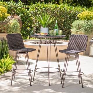 Torrey Outdoor 3-piece Round Wicker Bar Set by Christopher Knight Home