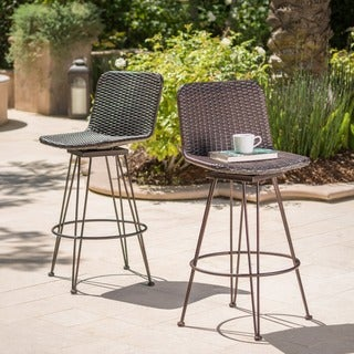 Torrey Outdoor Wicker Barstool (Set of 2) by Christopher Knight Home