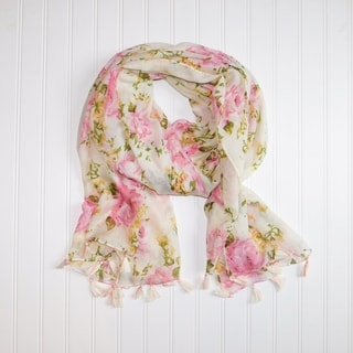 "Tickled Pink Romantic Roses lightweight Scarf - 32 x 70"", Pink"