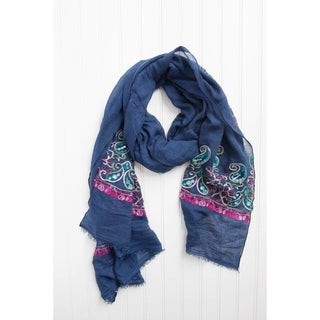 "Tickled Pink Floral Embroidered Lightweight Scarf 28 X 70"" - Navy"