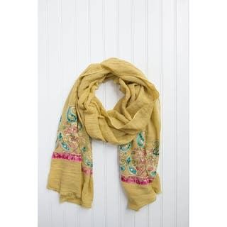"""Tickled Pink Floral Embroidered Lightweight Scarf 28 X 70"""" - Mustard https://ak1.ostkcdn.com/images/products/17338952/P23583536.jpg?impolicy=medium"""
