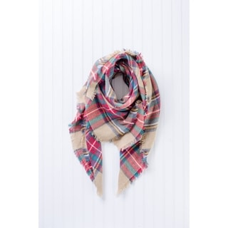 "Tickled Pink Bountiful Heavyweight Blanket Plaid 55 x 55"" - Beige"