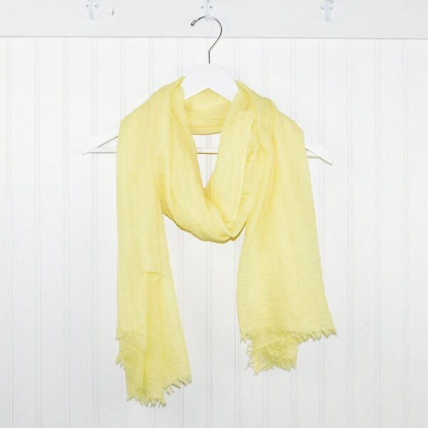 "Tickled Pink Lightweight Summer Scarf - 38 x 70"", Light Yellow"