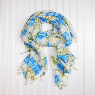 "Tickled Pink Romantic Roses lightweight Scarf - 32 x 70"", Blue"