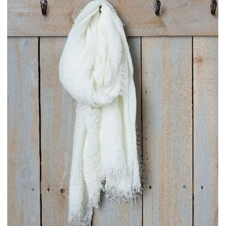 "Tickled Pink Lightweight Summer Scarf - 38 x 70"", Ivory"
