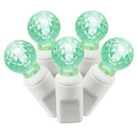 """Set of 100 Green Commercial Grade LED G12 Berry Christmas Lights 4"""" Spacing - White Wire"""