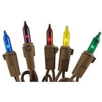 Set of 100 Multi-Color Mini Christmas Lights - Brown Wire
