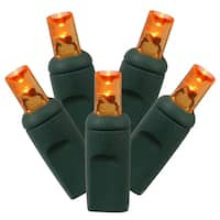 """Set of 50 Orange Commercial Grade LED Wide Angle Christmas Lights 6"""" Spacing - Green Wire"""