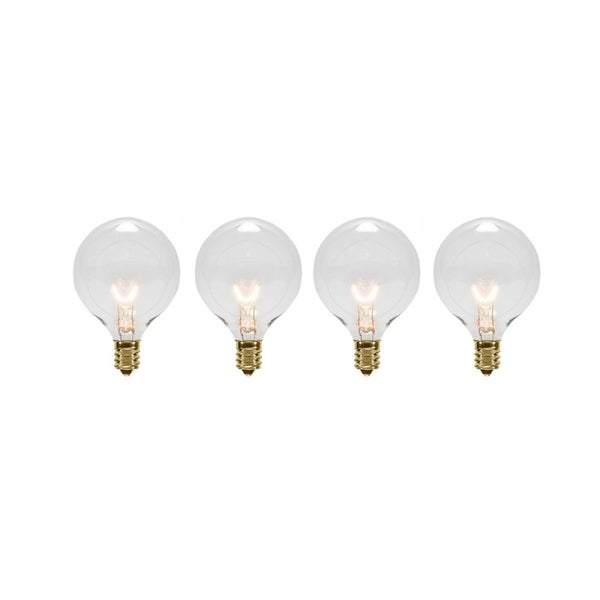 pack of 4 transparent clear g40 globe christmas replacement light bulbs 5 watts