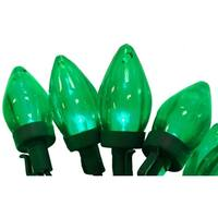 "Set of 50 Transparent Green LED C7 Christmas Lights 4"" Spacing - Green Wire"