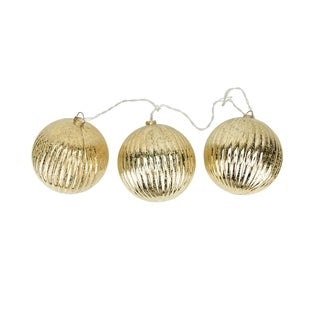Set of 3 Lighted Gold Mercury Glass Finish Ribbed Ball Christmas Ornaments - Clear Lights