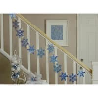 9.9' Blue Holographic Snowflake Christmas Light Garland with 35 Clear Mini Lights - White Wire